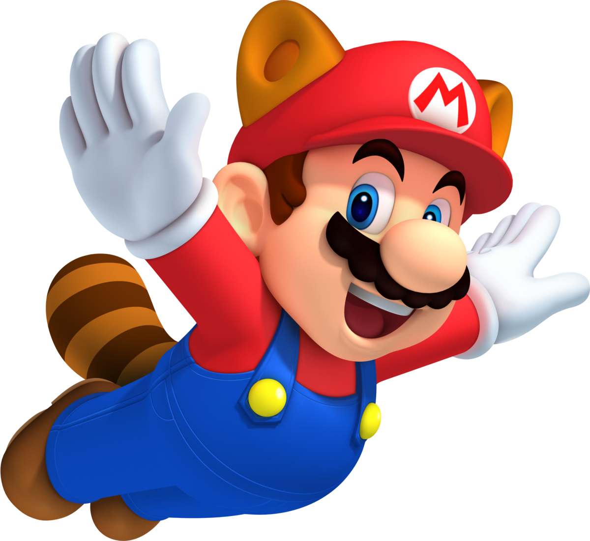 Mario flying from left to right with a racoon tail and ears from Super Mario Bros. 3