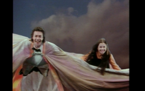 Tim Curry and Fairuza Balk flying as their characters from the worst witch made for tv movie