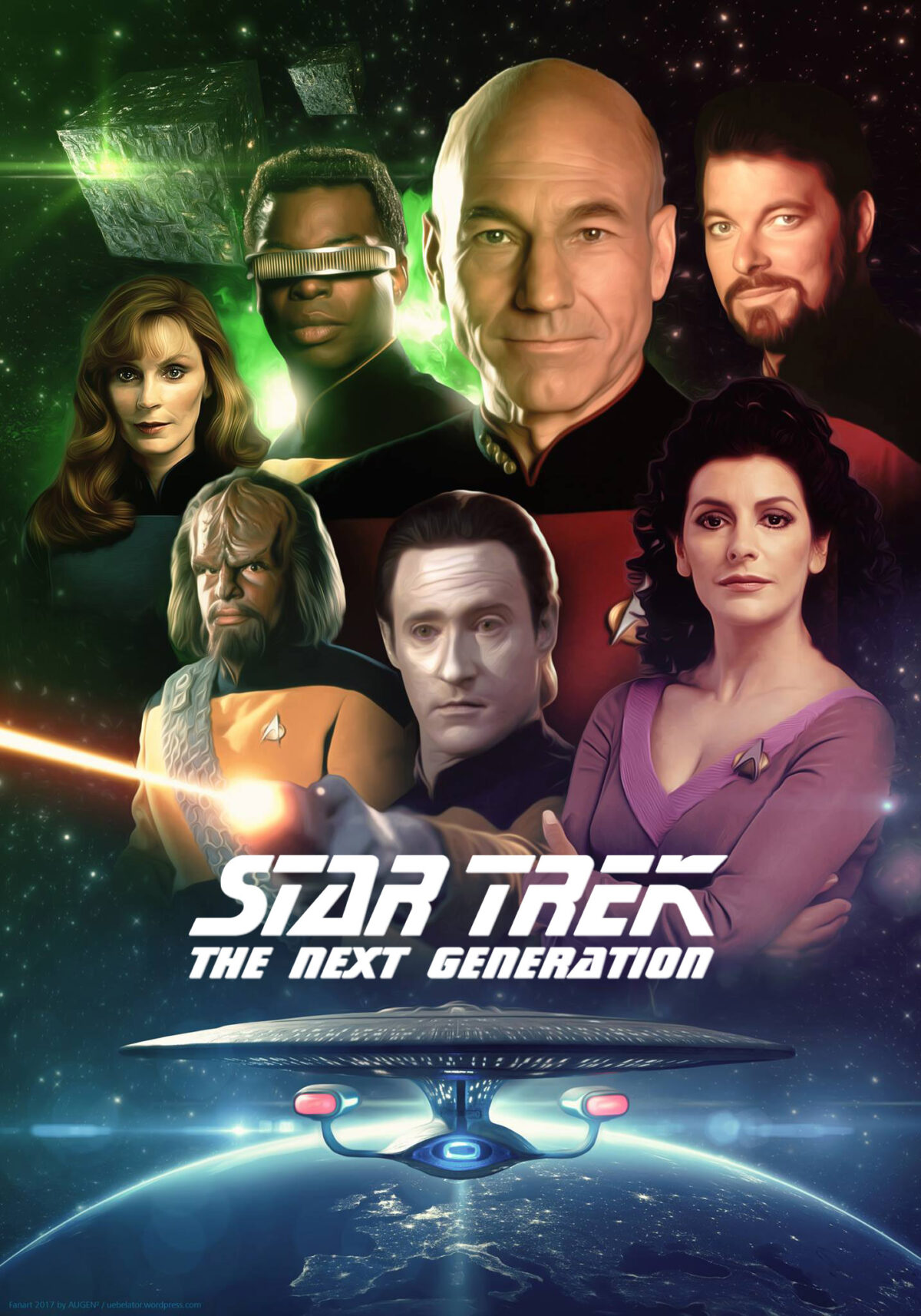 poster featuring the cast of star trek the next generation and the ship enterprise