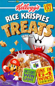 An image of the box cover for the Rice Krispies Treat cereal with a Nintendo 64 Mario promotional offer.