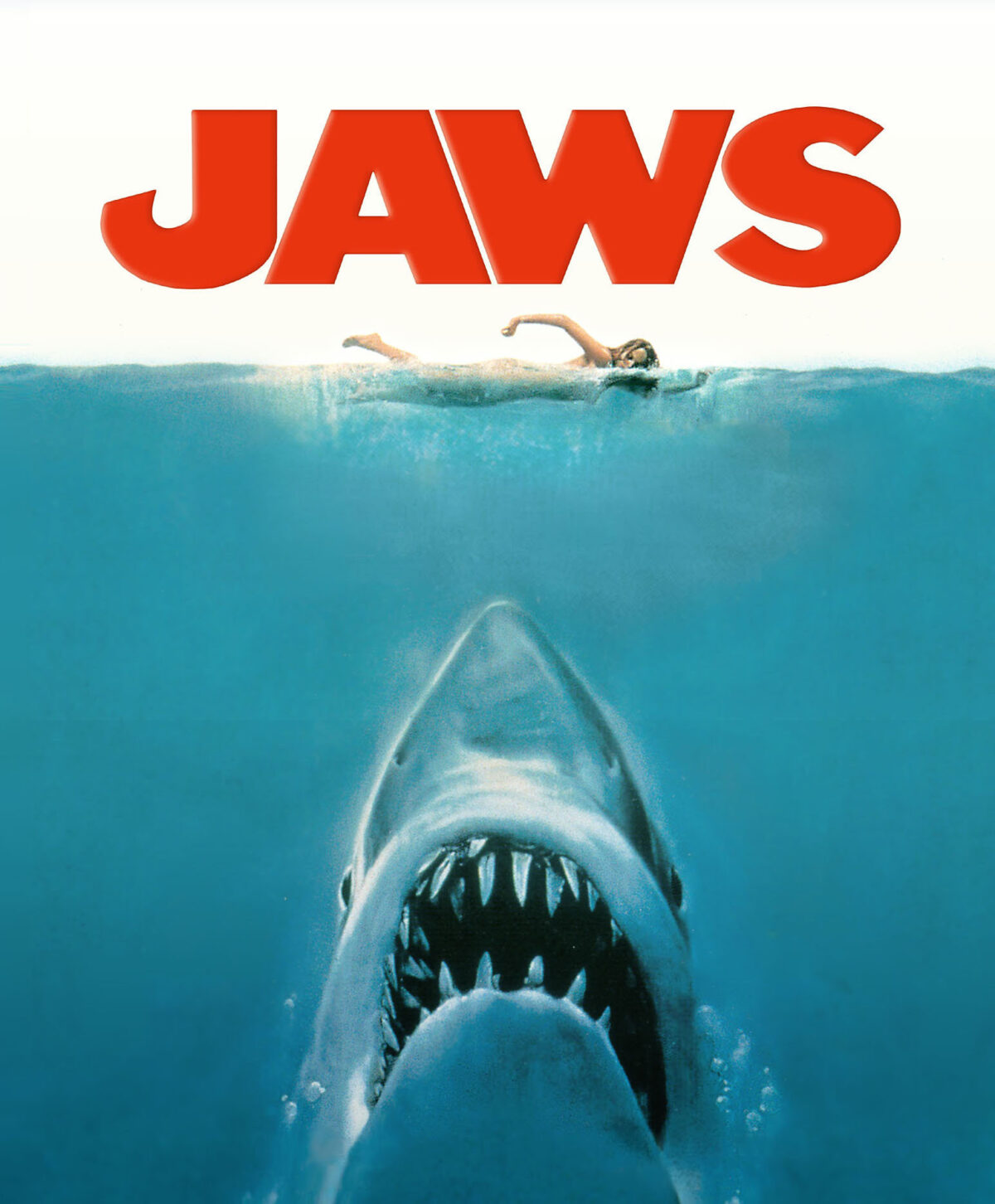 Shark coming up under the water under a swimmer with the title Jaws over the top