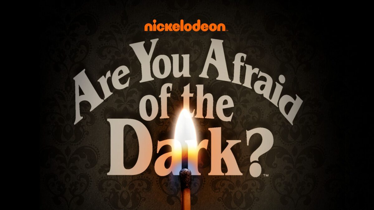 """Title """"Are you Afraid of the Dark?"""" with match in front of the text"""
