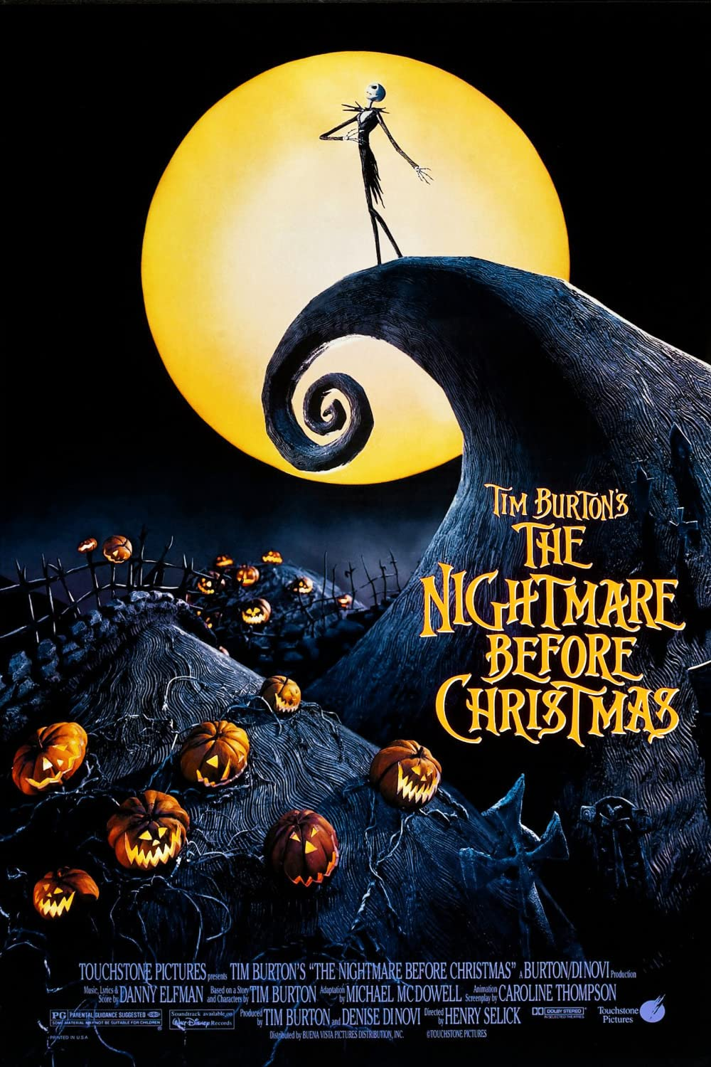 Jack the Pumpkin King stands on a hill in front of a large yellow full moon